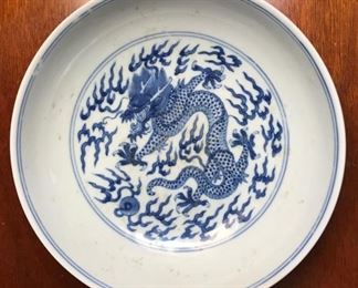 19th century Chinese porcelain dragon dish. Daoguang . One of  two. One with old hairline, other perfect.