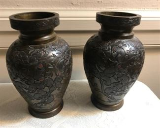 Pair of Meiji period bronze vases with great monkey detailing