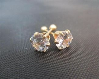 14K Yellow Gold Earrings with Large Stone (Screw Back)
