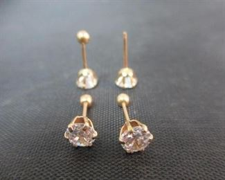 14K Yellow Gold Earrings with Medium Stones (Set of 2)