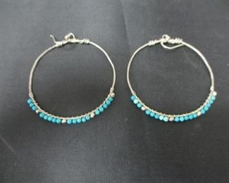 Silver Hoop Earrings with Turquoise Beads