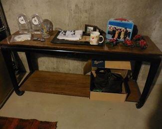Asian style sofa table; misc. items