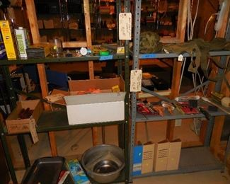 Misc. tools and hardware; shelving units
