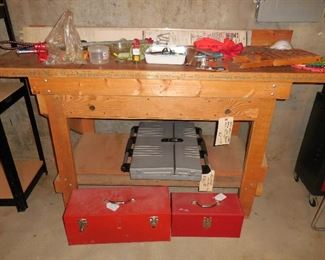 Work bench; misc. tools and tool boxes
