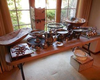 Antique wood bowl; antique scales; misc. décor items