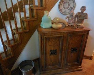 Storage cabinet; 3 pcs Jack Black Navaho pottery; other décor items