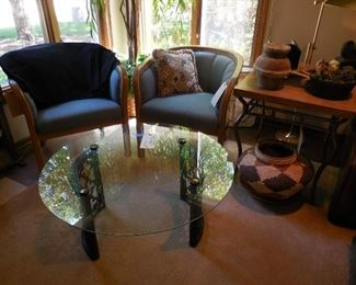 Pair side chairs; round glass-top table; end table; décor items