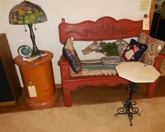 Mexican wood bench; drum end table; Thomas Kinkade lamp