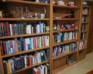 Books; wood book shelves