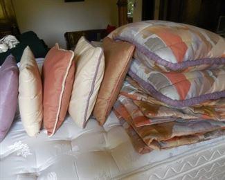 Custom king size bedspread, 2 shams and 5 throw pillows
