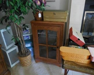 Entertainment cabinet; storage containers