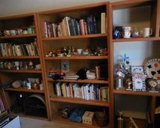 Books; wood bookshelves; misc.