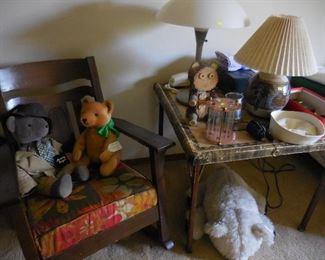 Rocking chair; stuffed animals; misc.