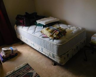 Twin bed; bedding