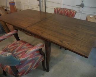 Square table with top opened out