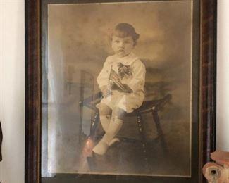 Victorian photograph with boy holding American Flag
