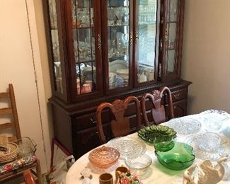 Mahogany China cabinet and matching table