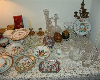 Assortment of brilliant period cut glass including decanter, mayonnaise and celery dishes, cream and sugar, various porcelain plates