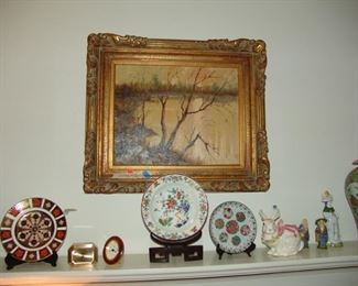 Oil Painting and Chinese and porcelain plates
