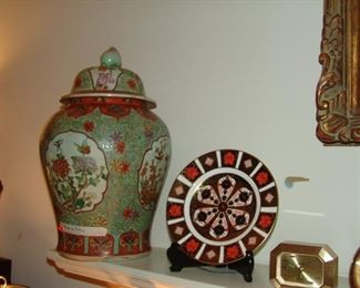 Pair of Oriental ginger jars and Herend plate