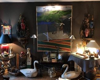 Living room  items (David Prentice painting is sold, both table lamps are sold, white wooden monkey is sold)