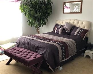 Beautiful queen size Tufted Headboard and box springs and mattress. Also comforter and a decorative pillows