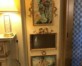 French Painted Cherub Trummeau Mirror