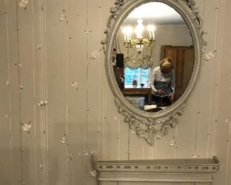 Ornate Mirror w an Antique coal Burning Mantle.