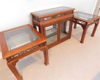 """Mid Century wooden and glass end tables - 22""""W x 27""""D x 21.75""""H and lighted display cabinet - 34""""W x 14""""D x 30.5""""H"""
