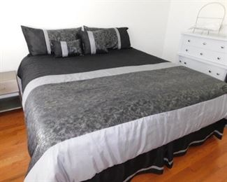 King Size Sealy Wilmoth Mattress, Boxspring, Frame and Bedding Accessories