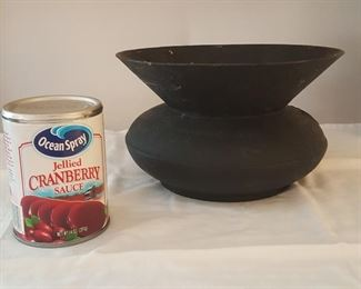 Cast iron spittoon, (Cranberry can for scale)