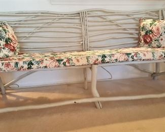 Absolutely fabulous RUSTIC bench made from branches and painted gloss gray.  Custom seat with matching pillows.  ONE OF A KIND!!!!