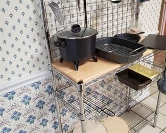 Bakers rack and cookware