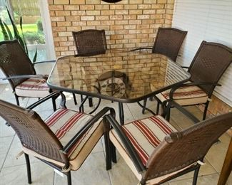Patio Furniture with 6 Chairs.  Mint Condition and priced to sell!