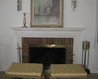 Art, fireplace mantel, benches