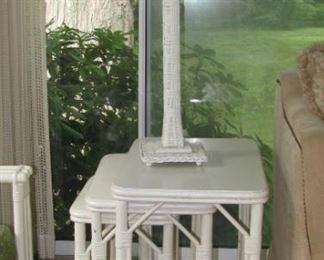 Haywood Wakefield nesting tables/wicker lamp