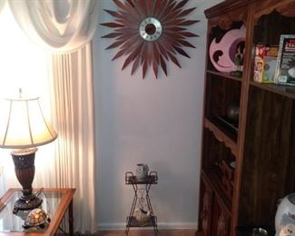 Westclox Atomic Wall Clock all Original and Sconces. Also a Mid Century Stand.