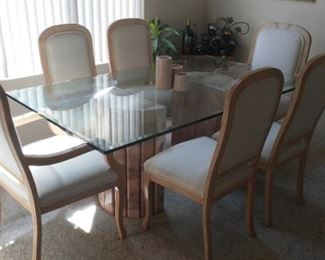 Glass Dining Room Table w/ Marble Pedestal & 6 Upholstered Chairs (Owner paid over $4000)