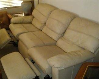Beige Leather Reclining Sofa