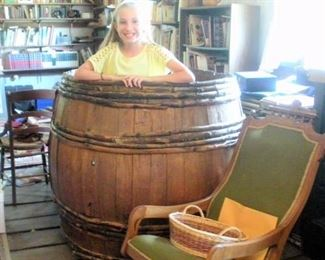 1870's primitive handmade oak wood slat and tree branch barrel...say hello to Young Miss Abby.