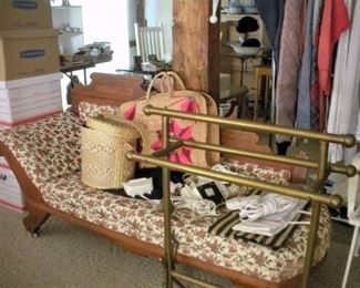 ….and a brass quilt rack and victorian settee.  Still some boxes to unpack too.