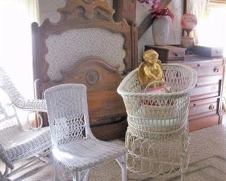 Antique Wicker Rocker and Bassinet...perfect for your little angel.