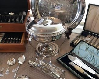 LOTS of sterling silver and silver-plate hollowware and flatware including several antique items
