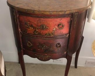 Antique half round chest with marble top