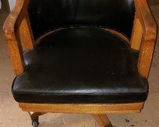 Oak desk / bankers chair