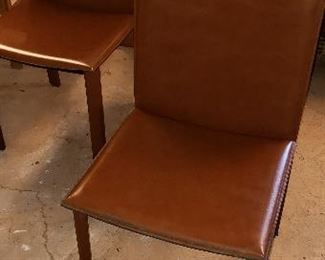 Set of 6 all leather cover chairs made in Italy