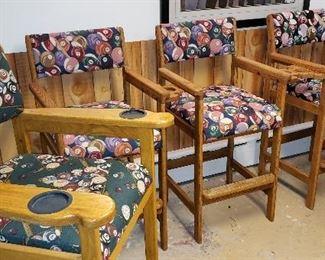 Four mint billiards / Pool hall chairs