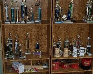 Lots of vintage trophies - billiards, bowling, car show etc.