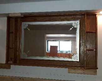 Barback mirror in oak frame