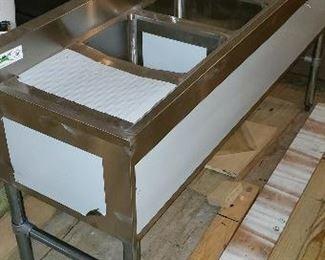never installed stainless still bar sink